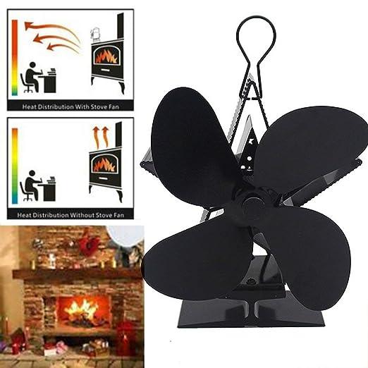 4 Aspas de Rotor Ventilador para Chimenea Creativo Ventilador de ...