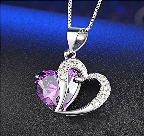 Joyfulshine Women Cubic Zirconia Crystal Heart Pendant Necklace Silver Plated Color Purple