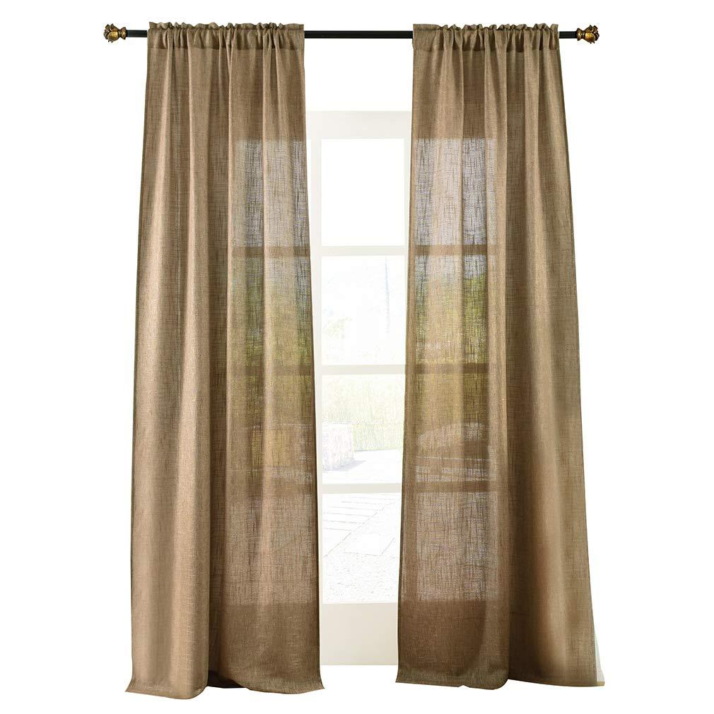 "Valea Home Soft Burlap Natural Tan Rod Pocket Window Curtain Panels for Living Room Patio Door, 37"" x 84"", 1 Panel"