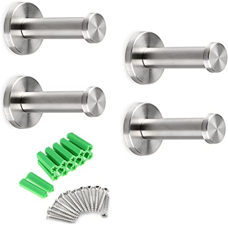 4 Pcs 4 Inch Stainless Steel Robe Towel Hooks Brushed Wall Mounted Holder