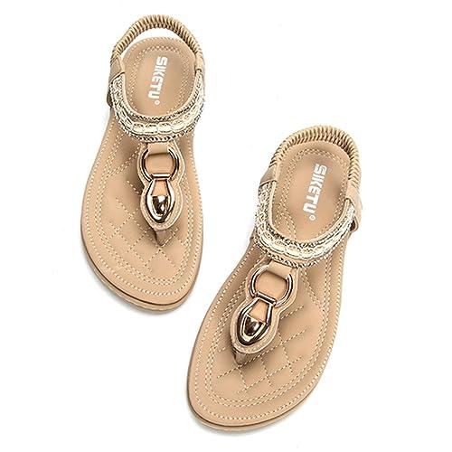 Socofy Sandales Femme, Tong Entredoights en Cuir Talon Plates Compensées  Enfiler Chaussures de Ville Été b33d2e05f834