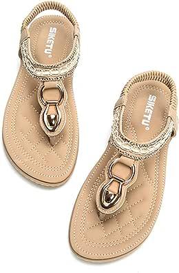 Socofy damsandaler för sommar låg platt klack flip-flop sandaler klämma tå post string boho skor med pärlor blommade strass bohemiska strandsandaler skor T-rem tofflor för flickor
