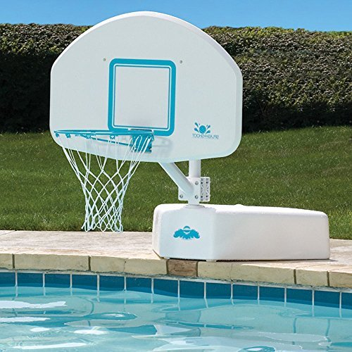 Poolside Outdoor Deck Top Selling Swimming Pool Basketball Backboard Adjustable Height Regulation Rim Net- Summertime Sports Competition Family Fun- Powder Coated Weather Resistant Portable Durable by Pool Pleasure