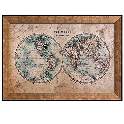 Antique Hemisphere Map of the World Framed Art