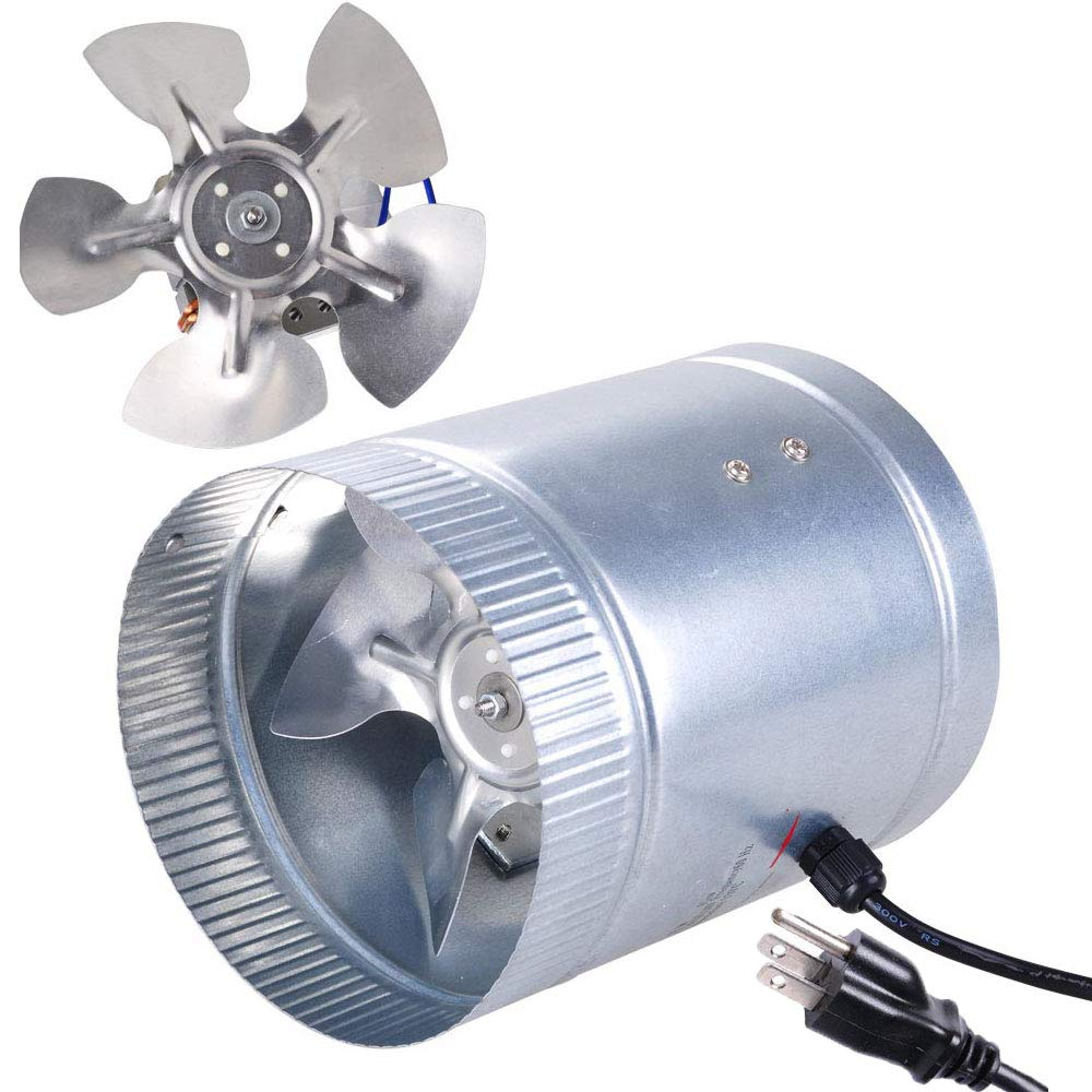 Yescom 6'' 260CFM Inline Duct Booster Fan w/Aluminum Blade Hydroponics Cooling Ventilation Exhaust Air Blower