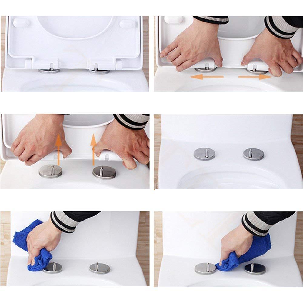 Edelstahl Scharnier Fuer Toilettendeckel knowing 2 St/ück Schrauben f/ür Toilettensitz Edelstahl-Basis Toiletten Sitz Schrauben Zubeh/ör 5cm