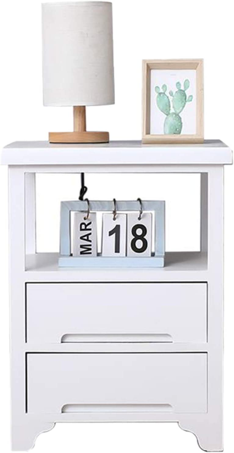 SQPFTW Nightstand with 2 Drawers(No Assembly Required) - Solid Wood End Table/Side Table/ - Fully Assembled Furniture for Livingroom, Bedroom, Bathroom and Kitchen-White
