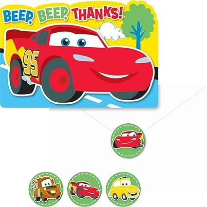 Amazon.com: Cars 1er Cumpleaños Notas de agradecimiento (8 ...