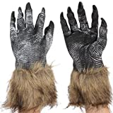 Multifit Adults Latex Wolf Gloves and Wolf Head Mask for Halloween Themed Party(Wolf Gloves)