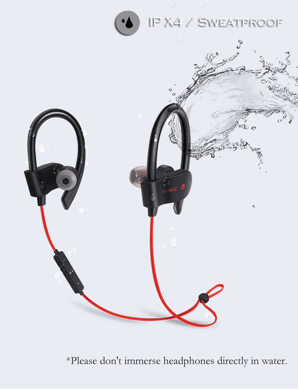 Wiw Wireless Bluetooth Headphones for Running HD Stereo 4.1 Sports Wireless Earphones with Built-in Mic Red