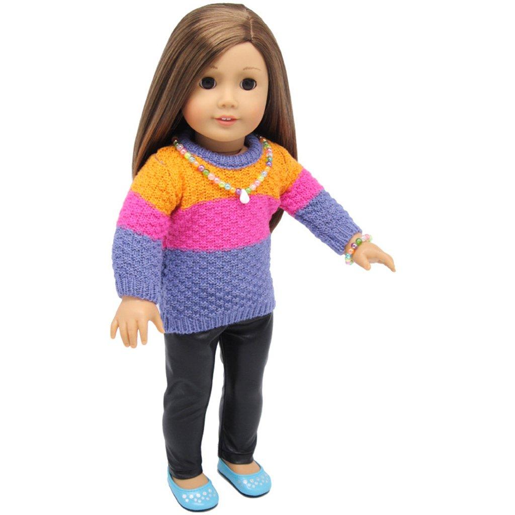 3f02191aa9cdc Mini-poupées et accessoires Poupées et accessoires Blesiya Pull/Pantalons/ Robe en Tissu Décorations pour 18 pouces American Girl Dolls Jouet ...