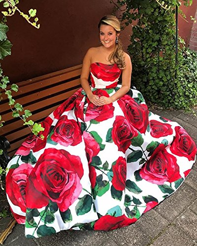 Red MALL Strapless Womens Long Party Prom Printed Gown PM01 BRL Floral Evening red Ball Formal Dresses fAHwxW