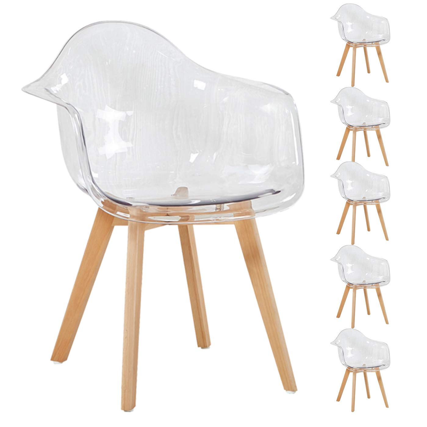 6er set transparent sessel skandinavisch esszimmerstuhl modern wohnzimmer eggree ebay - Esszimmerstuhl skandinavisch ...