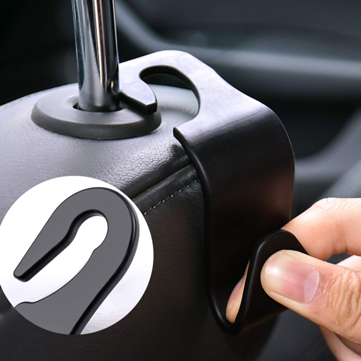 Black 12pcs Car Storage Hooks 11cm Headrest Hooks Plastic Car Back Seat Hanger Hook with Curved Design,Vehicle Car Organizer Storage Holder for Handbags,Baby Supplies,Coats