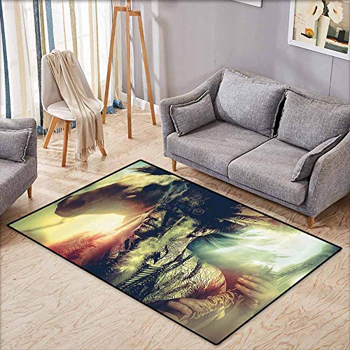 Living Room Rug,Tattoo Decor,Angel Wings Skull and Heart Full of Blood Symbol of Real Love Image,Anti-Static, Water-Repellent Rugs,3'3