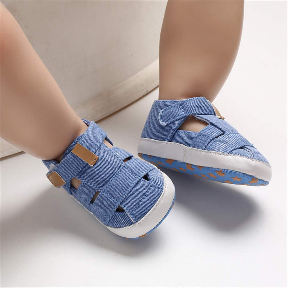 Meckior Summer Baby Infant Boys Sandals Canvas Soft Sole Non-Slip Closed Toe First Walkers Shoes