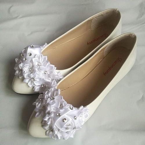 Wedding Shoes White Flower Bridal Flat