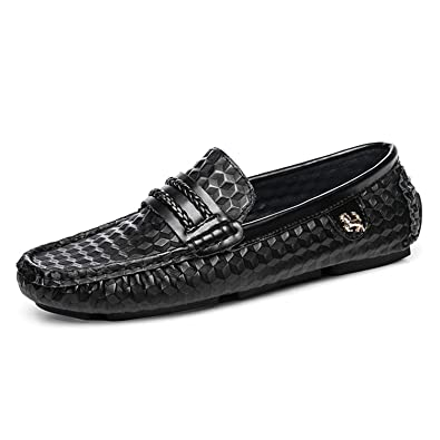 Men Loafers Genuine Leather Driving Shoes Moccasins Mocasines Flats Black 6.5