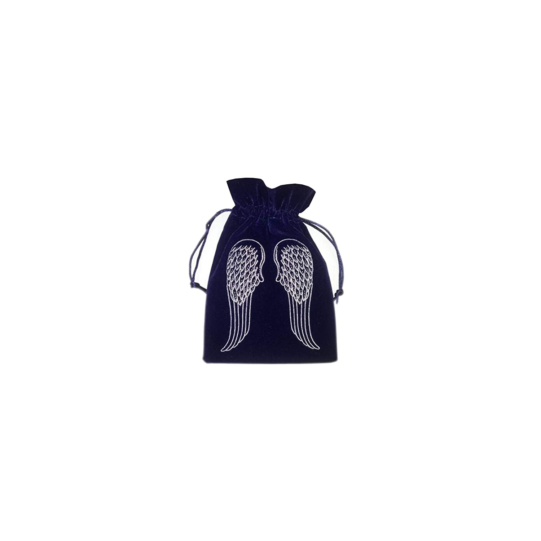 FindSomethingDifferent Angel Wings Tarot Bag Navy Embroidered Velvet 18x13cm