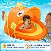 SwimSchool Goldfish Fabric Baby Boat Canopy, Upf 50 Perfect Adjustable Seat, Extra-Wide Inflatable Pool Float, Orange, 6 to 24 Months