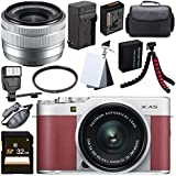 Fujifilm X-A5 Mirrorless Digital Camera with 15-45mm Lens (Pink) + 32GB SDHC Card + 52mm UV Filter + NP-W126 Lithium Ion Battery + External Rapid Charger Bundle