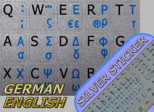 English Notebook Non-Transparent Silver Keyboard Stickers Greek