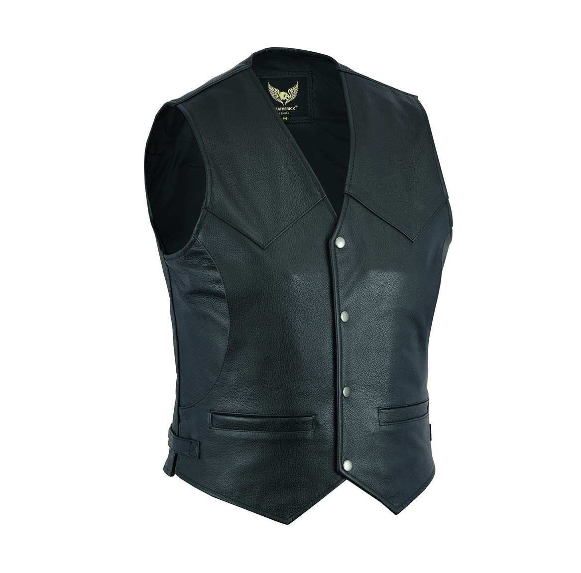 Leatherick Gilet classique en cuir pour homme avec 4 poches avant Noir
