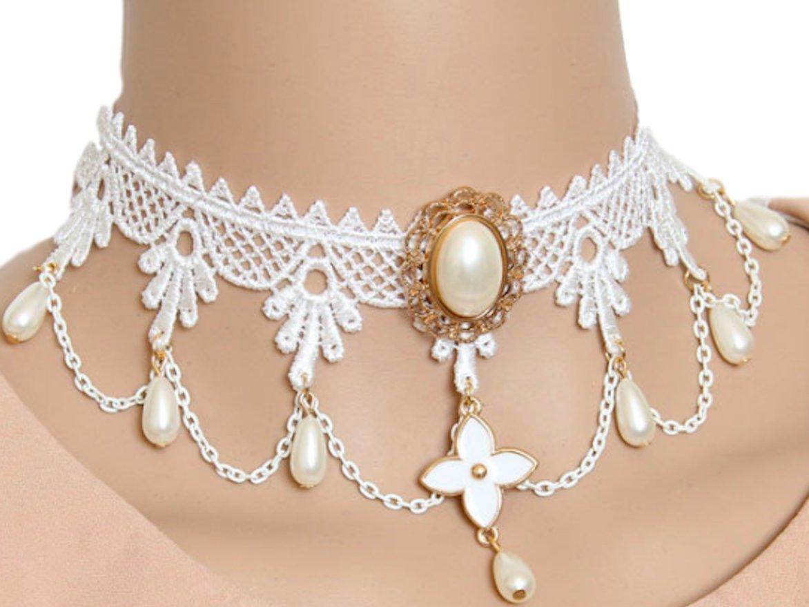 Moon Market Lace Jewery Gothic Lolita Vintage Choker Necklace Pendant Victoria Palace Princess (White, NA) Turquoise Velvet Wedding Unicorns Vampire Thin Stones