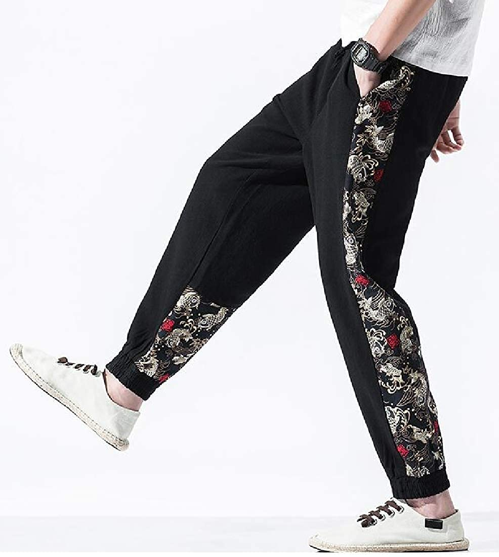 Jofemuho Men Plus Size Ankle Cotton Linen Casual Elastic Waist Chinese Style Casual Pants Trousers