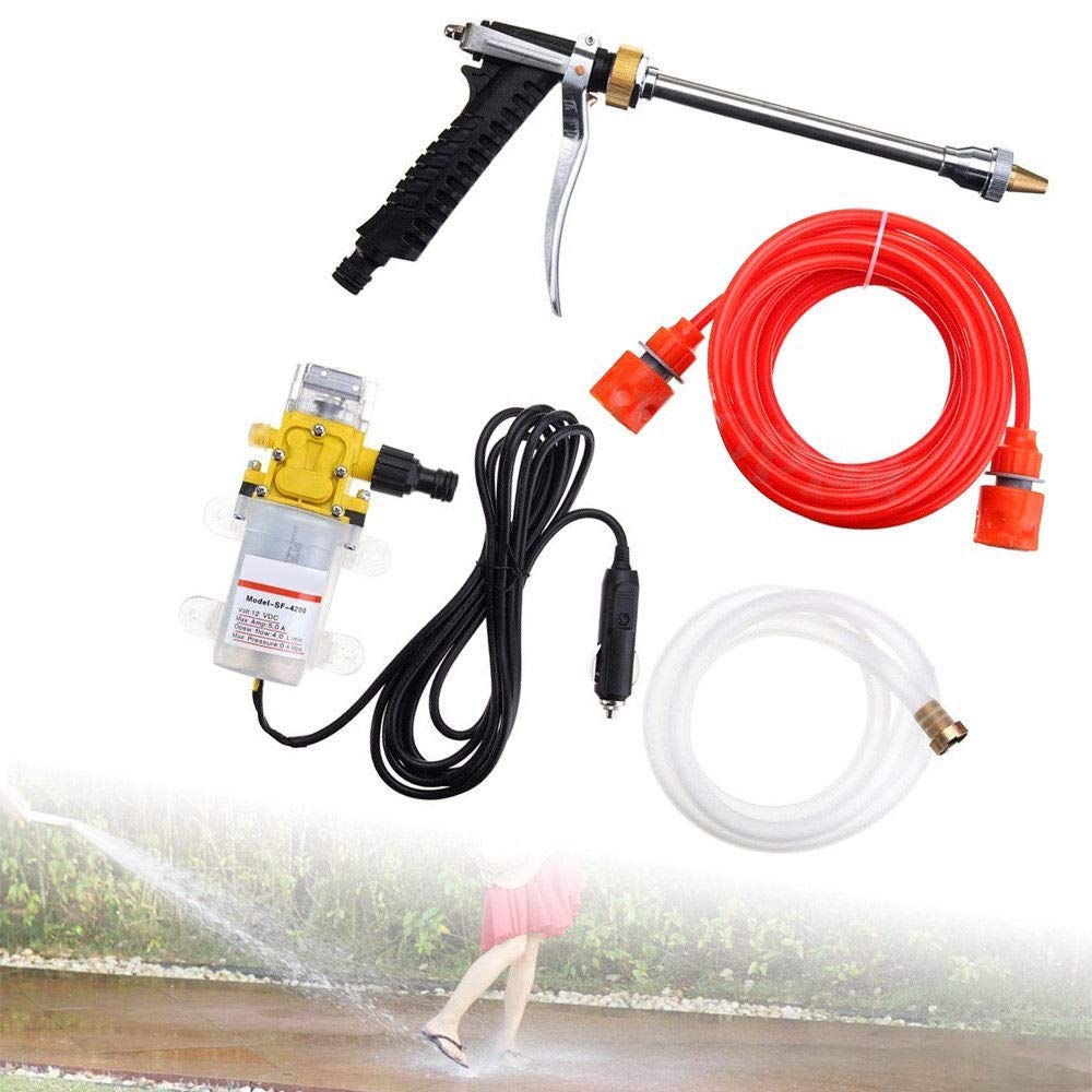 TOOGOO Car Washer Kit, 12 Volt Portable High Pressure Water Pump, Car Wash Device Fit for Auto Rv Marine,Pets Showering,Window Cleaning,Gardening and Camping