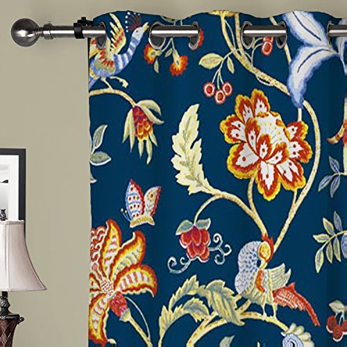 IYUEGO Gergeous Flowers And Birds Room Darkening Grommet Top Lined Blackout Curtains Draperies With Multi Size Custom42 W x 63 L One Panel
