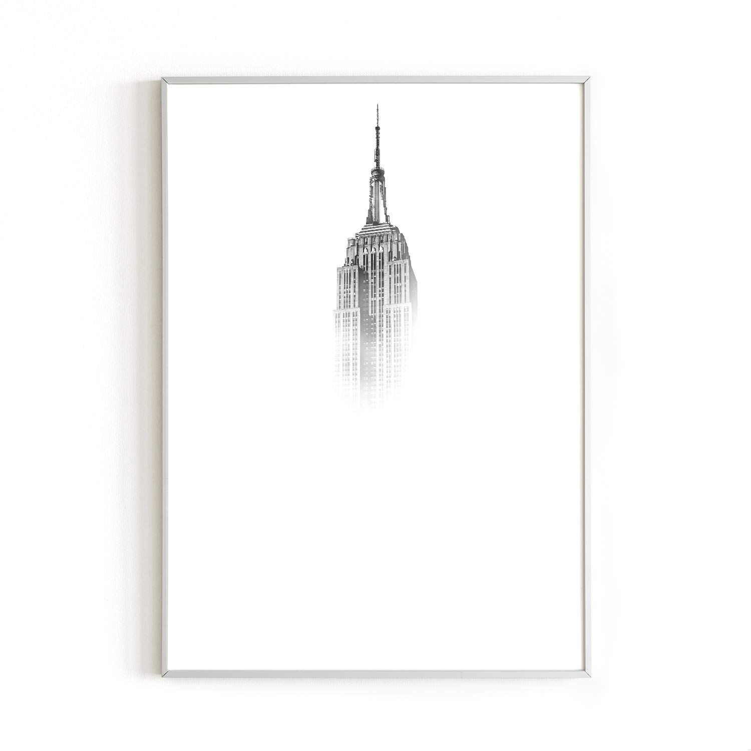 """RipGrip Urban Willow Empire Fade Wall Art Print NYC & Empire State Building Themed Home, Office, Apartment Wall Decor Black & White Art 