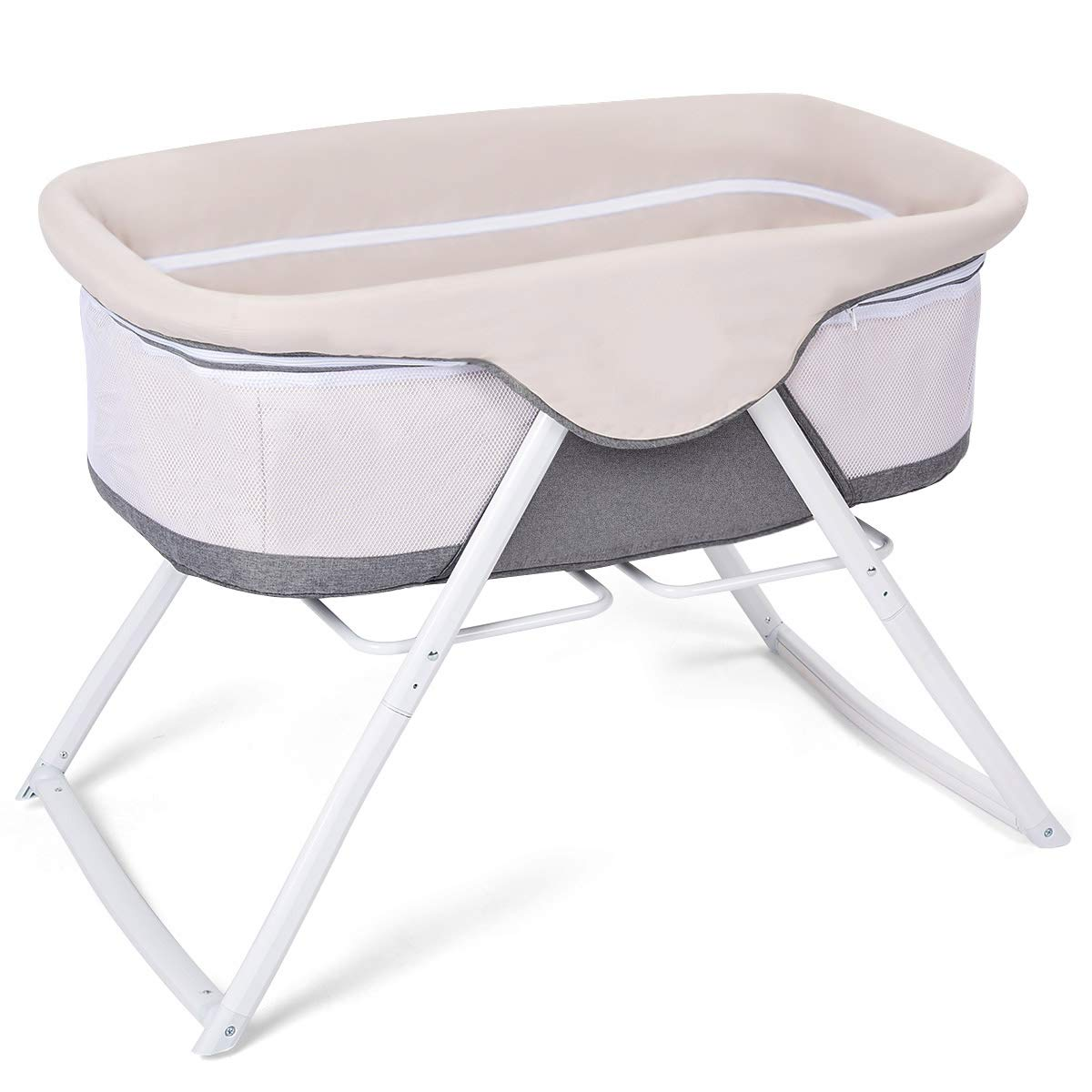 Costzon Baby Cradle, 2 in 1 Lightweight Rocking Bed with Detachable & Washable Mattress, Breathable Side Mesh, Portable Oxford Carry Bag (Beige)