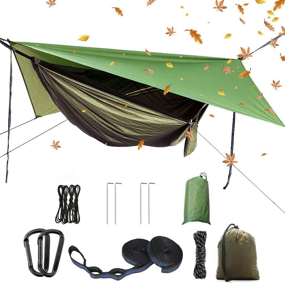 (Update to Oversized Rain Fly) Camping Hammock Set,Single Double Hammock,Mosquito net,Insect net,Rainfly,high Strength Parachute Fabric Hammock (Army Green Heavy Rain Fly),Outdoor, Hiking, Courtyard 61sASQZDeHL
