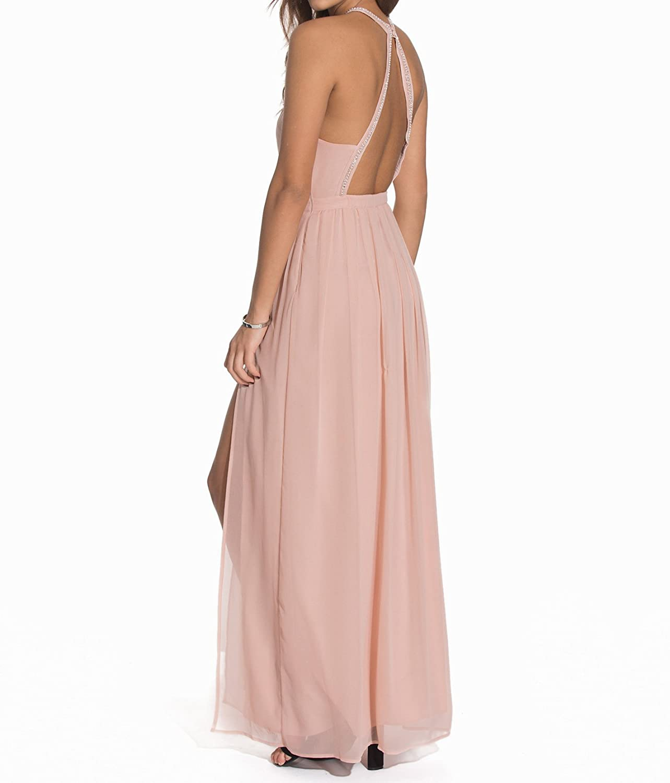 AngelDragon Sexy Halter Long Formal Evening Gowns Chiffon Beaded Bridesmaid