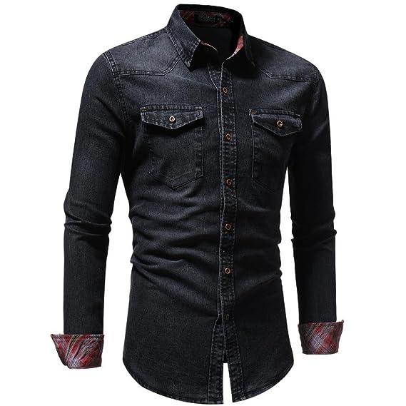 Camisas para Hombres Moda Retro Personalidad Clásico Botón Ajustado Delgado Negocio Casual Camisetas de Manga Larga Camisa Vaquera Blusa Vaquera LMMVP: ...