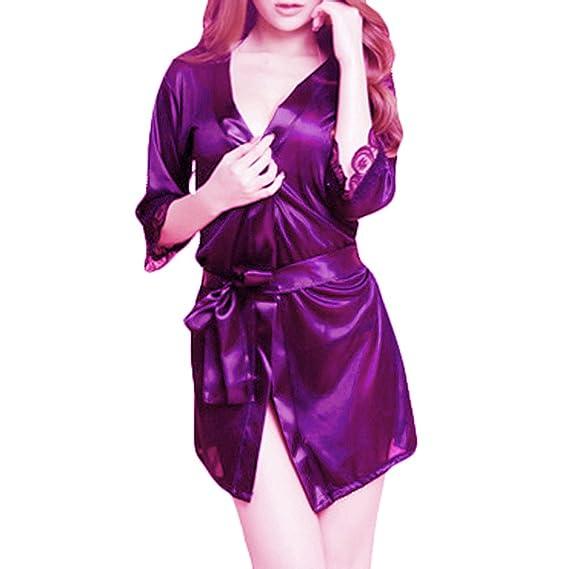 YOLIA Mujeres Camisones Colores Sólidos Kimono ropa para dormir, Albornoces, Batas de color Púrpura: Amazon.es: Ropa y accesorios