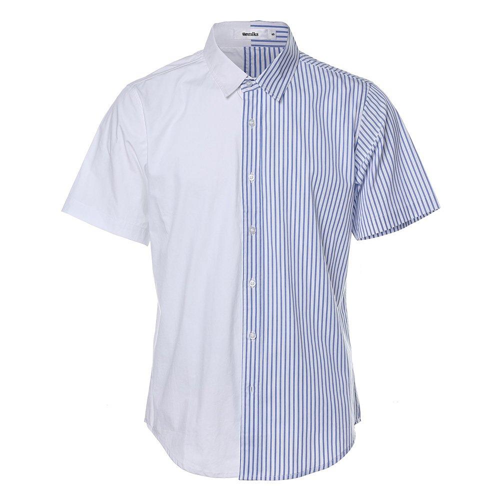 HEMIKS Cotton Stripes Button Buckle Men`s T-Shirt (Blue, L)
