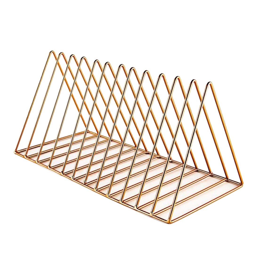 PeleusTech Large File Organizer - 12 Slot Magazine Holder Desktop Storage Rack - (Rose Gold)