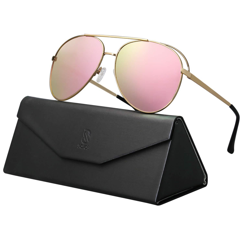 SOJOS Polarized Oversized Aviator Sunglasses for Men Women Mirrored Lens MYSTYLE SJ1108 with Gold Frame/Pink Mirrored Polarized Lens by SOJOS