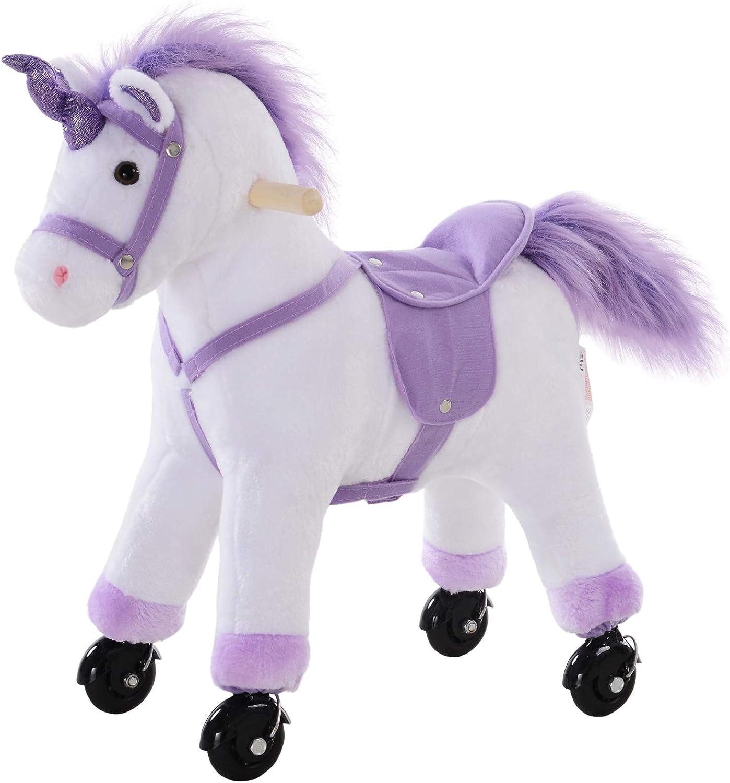 HOMCOM Caballo Pony Mecánico para Cabalgar Balancín con Ruedas Peluche Caballito Juguete con Sonidos 55x23x60cm