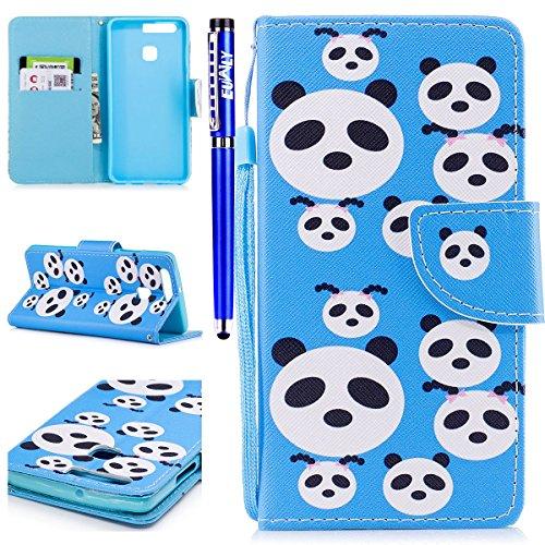 EUWLY Leather Wallet Case for Huawei P9,Ultra Thin Colorful Butterfly Flower Tree Animal Embossed Pu Leather Case Cover with Hand Strap for Huawei P9 + 1 x Stylus Pen - Colorful Flower Panda