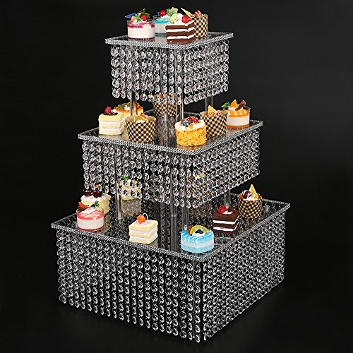 Clear 3 Tier Cupcake Stand with Chandelier grade crystal clear acrylic drops, bling Crystal Cake Stand, frozen theme Cupcake Stand ()