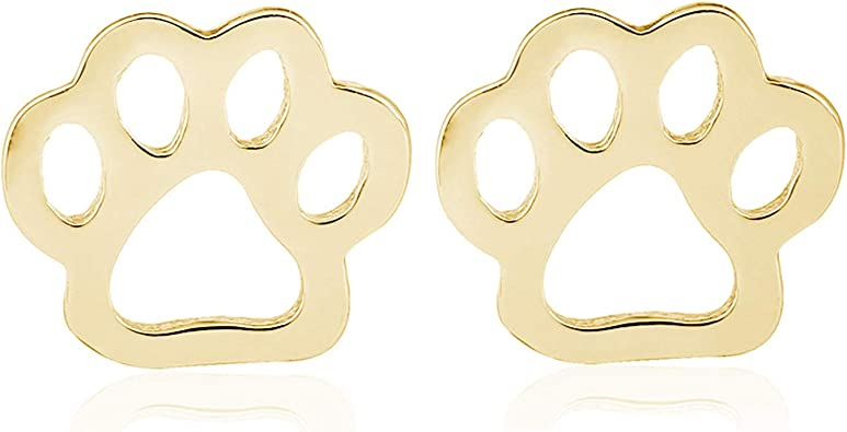 Gold Silver Plated Cute Dog Cat Paw Stud Earrings for Women Men Girls Hollow Animal Footprint Pendientes Brincos Trendy Jewelry