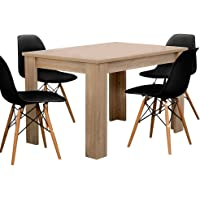Artiss Wooden Dining Table and 4 Eames Replica Chairs, 5-Piece Dining Set