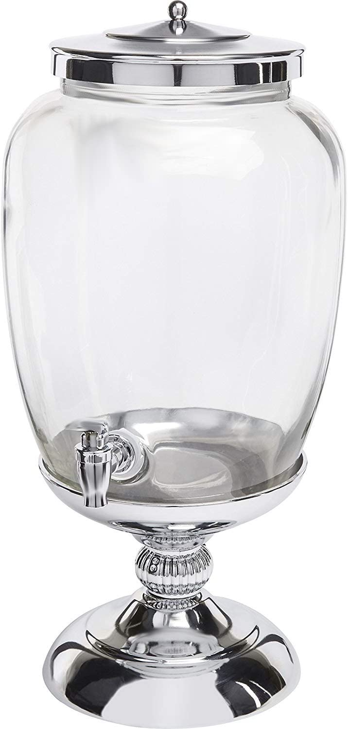 Circleware Celebrations Elegant Glass Beverage Dispenser with Silver Stand and Lid Entertainment Kitchen Glassware Pitcher for Water, Juice, Wine, Kombucha & Cold Drinks, 3.1 Gallon