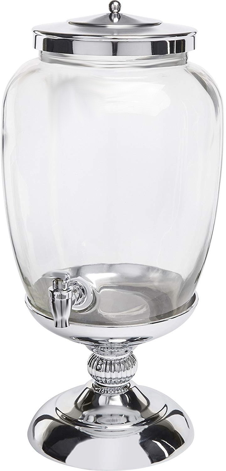 Circleware 68160 Celebrations Elegant Glass Beverage Dispenser with Silver Stand and Lid Entertainment Kitchen Glassware Pitcher for Water, Juice, Wine, Kombucha & Cold Drinks, 3.1 Gallon