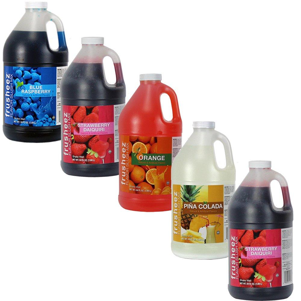 Frusheez Slush & Slushy Mix 1/2 Gallon Choose Your Own Flavors (Five Pack)
