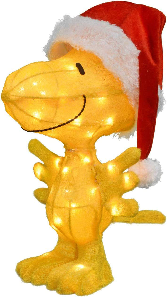 ProductWorks 22-Inch Peanuts 3D LED Pre-Lit Woodstock in Santa Hat Christmas Yard Art, 35 Lights