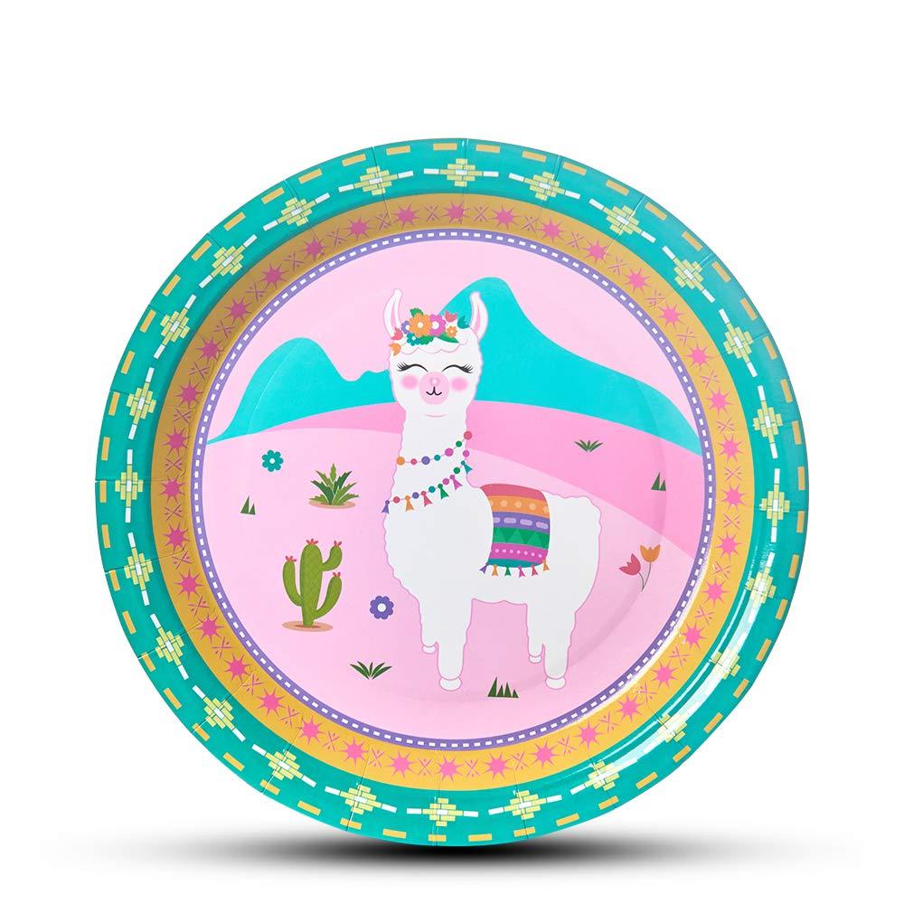 WERNNSAI Llama Cactus Party Supplies - 50PCS 9'' Disposable Paper Dinner Plates for Girls Birthday Baby Shower Alpaca Pattern Pink Luncheon Tableware by WERNNSAI